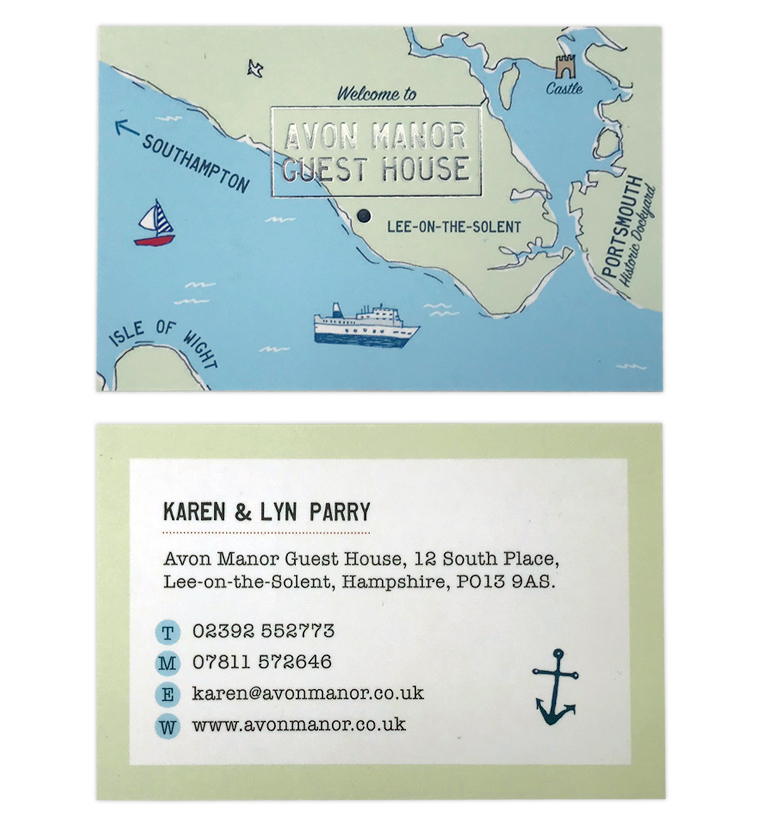Avon Manor Guest House business card with hand drawn map and hot silver foil finish