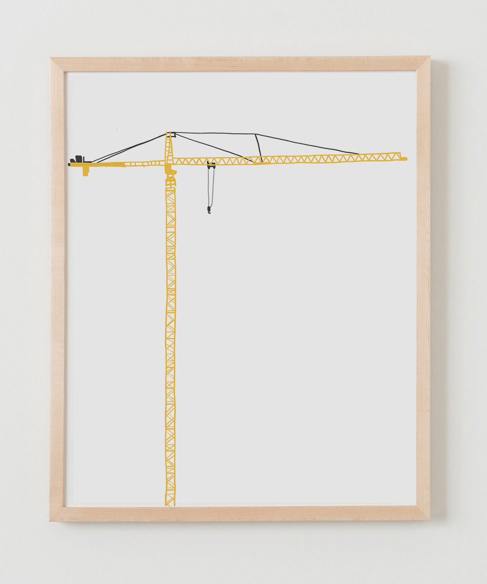 Graphic art by Jorey Hurley of a yellow crane, ideal for a nursery