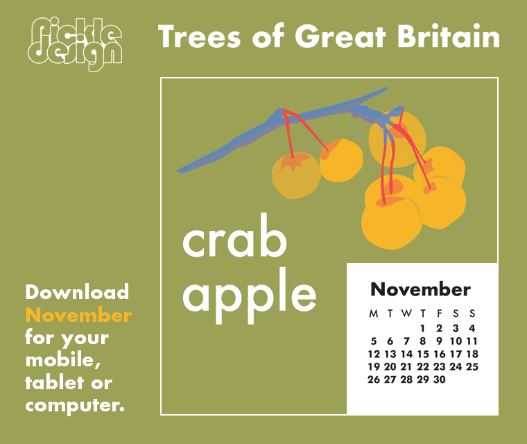 Download the free November retro illustrated calendar of the Crab Apple tree, one of our Great British trees for your desktop, mobile or tablet