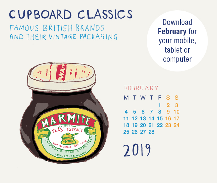 Download the free February illustration of Marmite from our vintage packaging calendar for your desktop, mobile or tablet