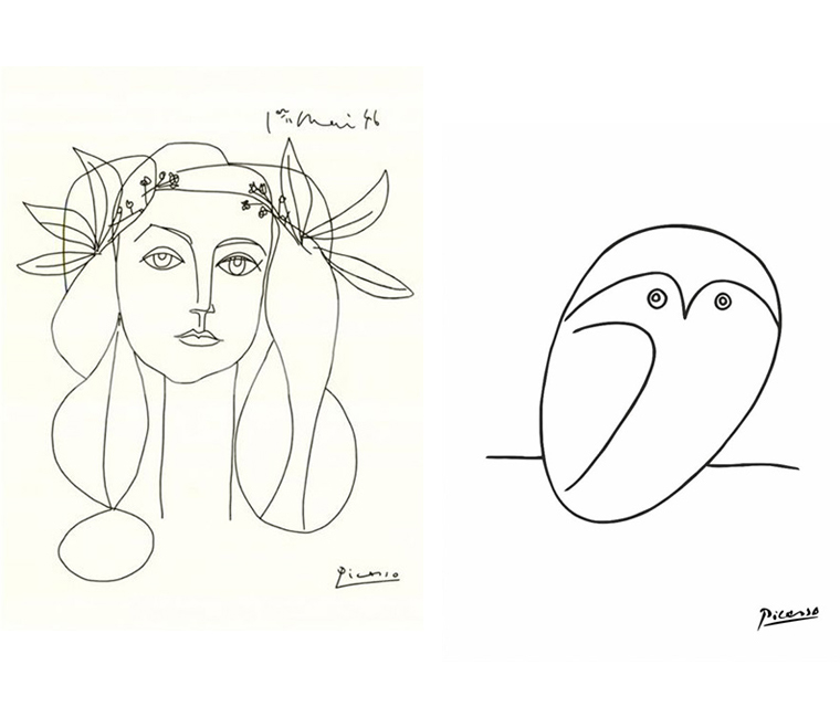 Picasso's line drawings of 'War and Peace' and the 'Owl'