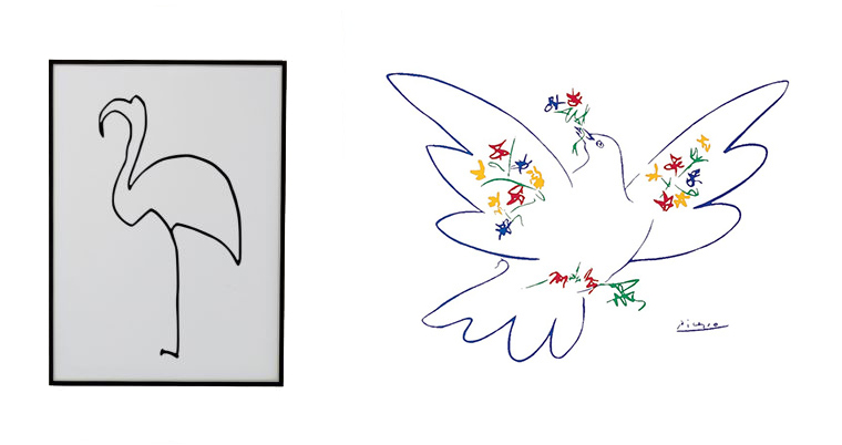 Picasso's line drawings of the Flamingo and Dove
