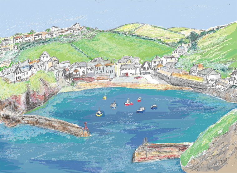 Our illustration of Port Isaac for Harbour Treats