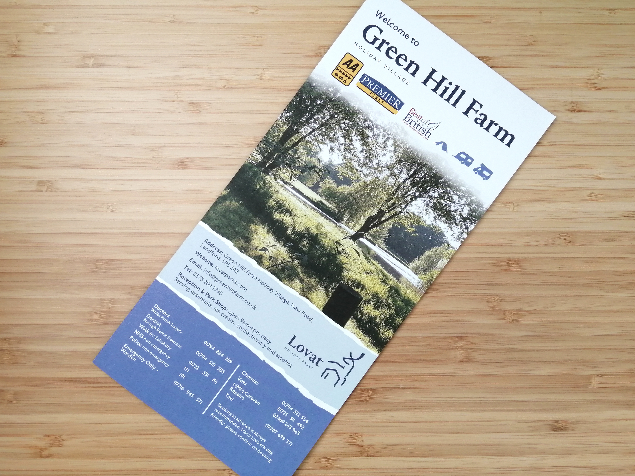 Green Hill Holiday Park welcome leaflet design