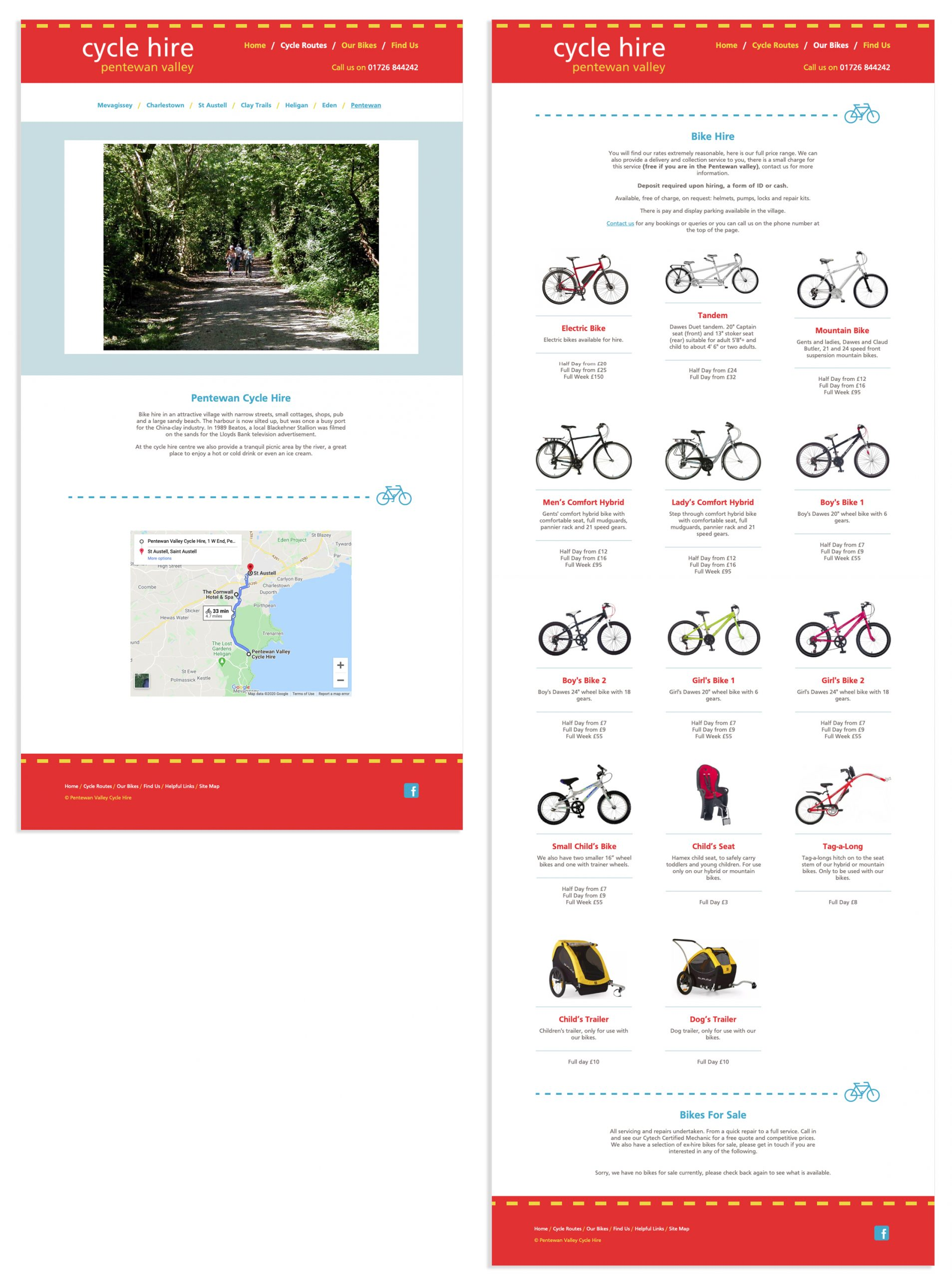 Pentewan Valley Cycle Hire bikes and routes