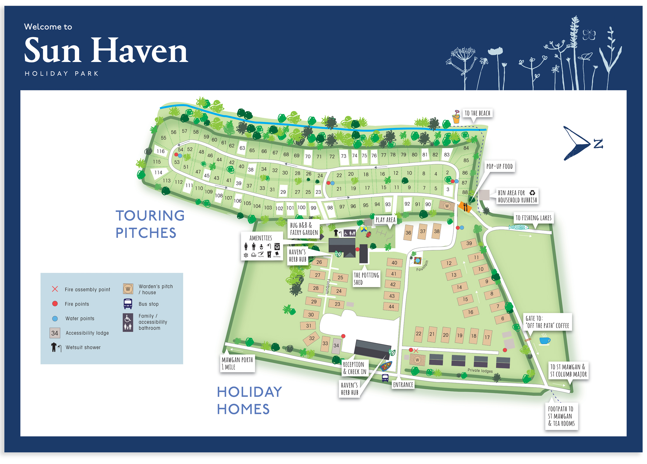 Sun Haven Holiday Park map sign