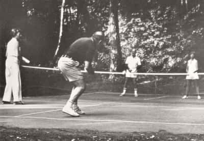 Playing on Pickleball Court