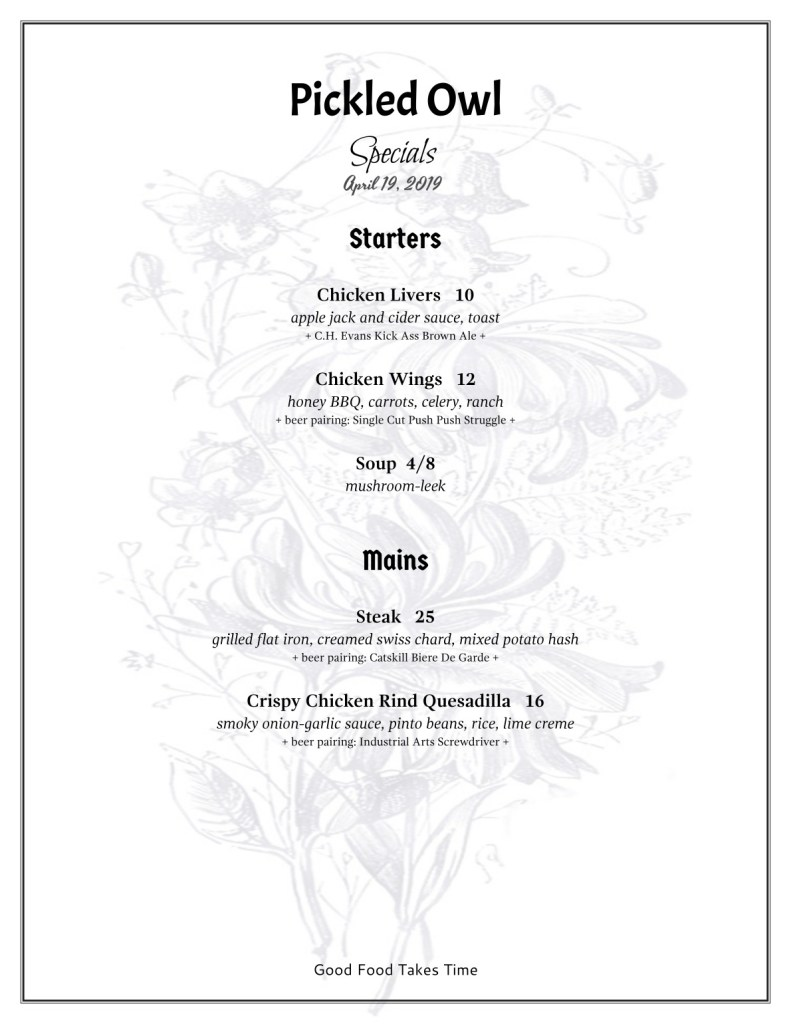 Specials 4_19 Pickled Owl