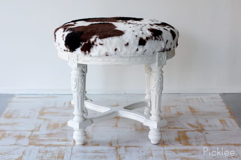 The Farmhouse Chic Cow Print Stool Before Amp After Picklee
