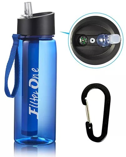 FilterOne Personal Water Filter Cycling Bottle with Built-in Compass