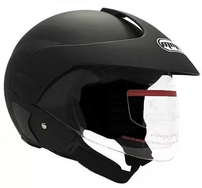 MMG Motorcycle Open Face Helmet with Flip Up Clear VisorDOT Street Legal – Matte Black 203 (Medium)