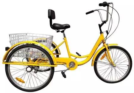 Iglobalbuy 6-Speed Yellow 24″ 3 Wheel Adult Bicycle