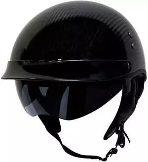 Voss 888CF Genuine Carbon Fiber DOT Half Helmet