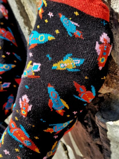 Blast Off Rockets Space Socks