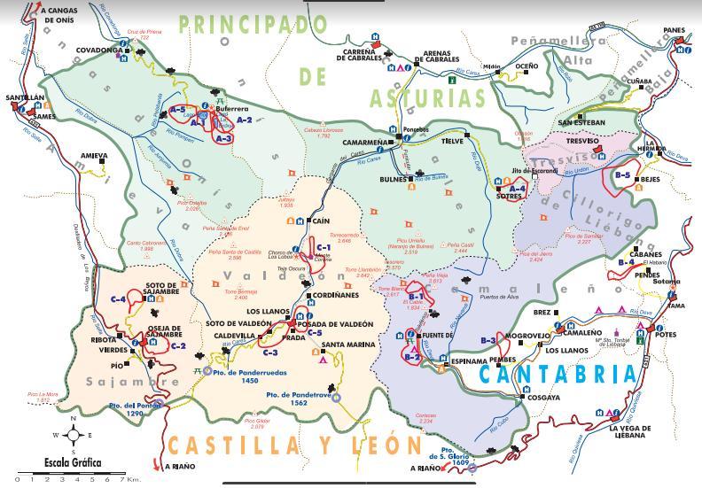 Mapa rutas de senderismo del Parque Nacional