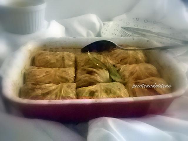hojas de col rellenas