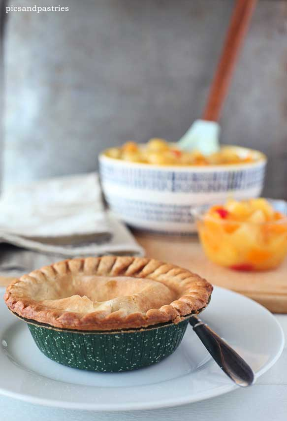 Marie Callender's pot pies and homemade fruit salad
