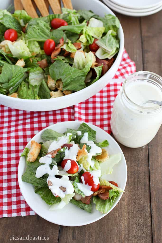 BLT Salad with homemade croutons