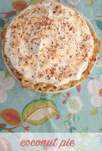 coconut pie on a piece of floral fabric