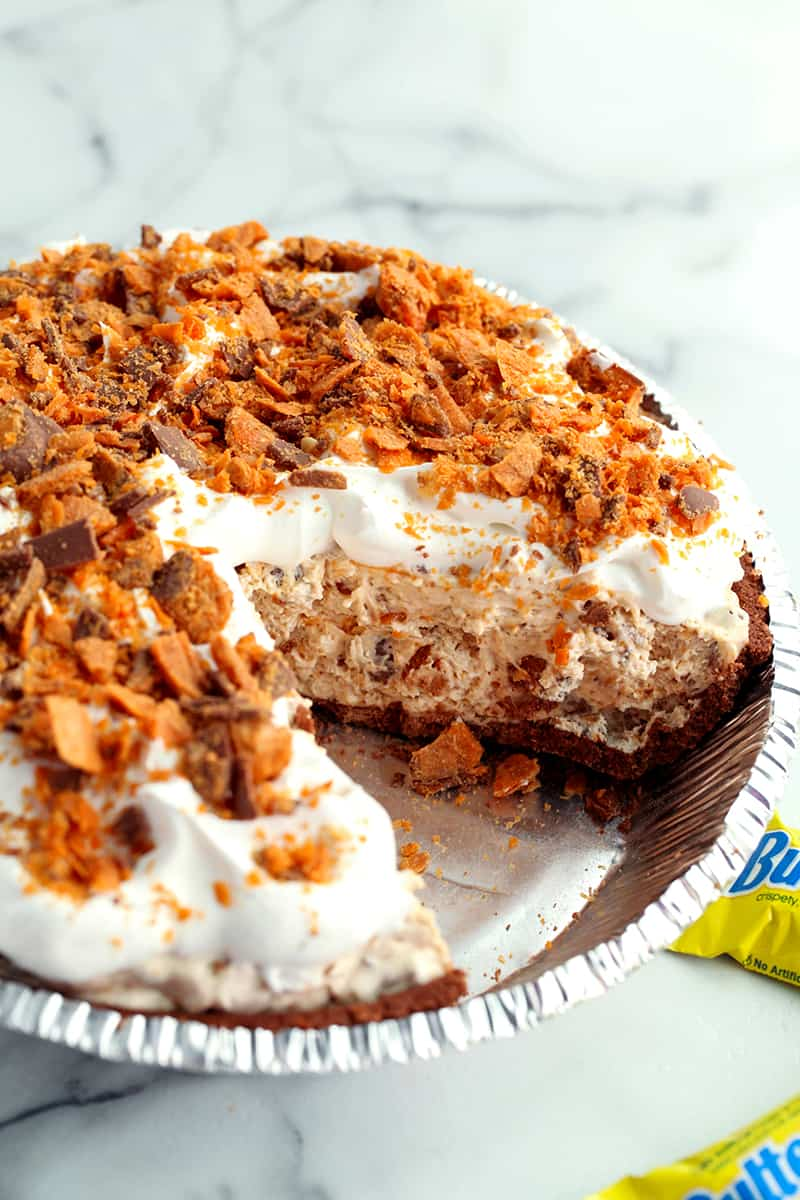 Butterfinger Pie with one slice removed