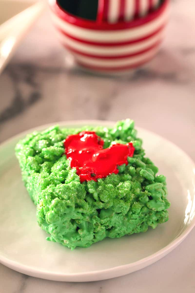 Grinch Marshmallow Treat on a white plate