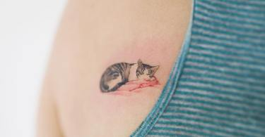 cat tattoo,back tattoo