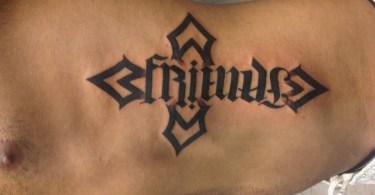 Ambigram Rib Tattoo