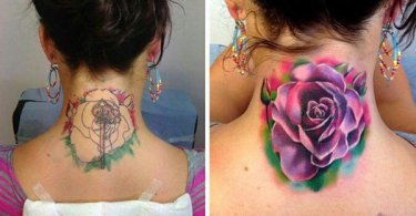fantastic Watercolor rose tattoo cover up on neck With Colourful Ink For Man And Woman