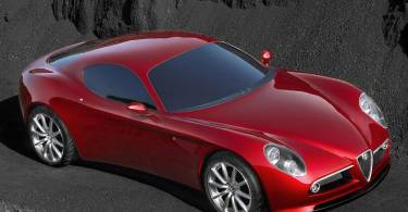 Beautifull red Alfa Romeo 8C Competizione Car  upper side