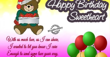 Sweetheart Birthday Wishes