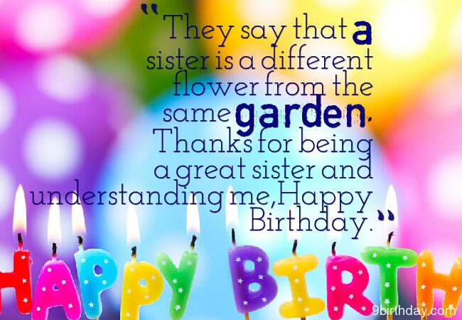Great Sister Birthday Wishes Quotes Greetings Image