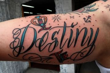 Blue Red And Black Color Ink Destiny Ambigram Tattoo On Arm For Boys