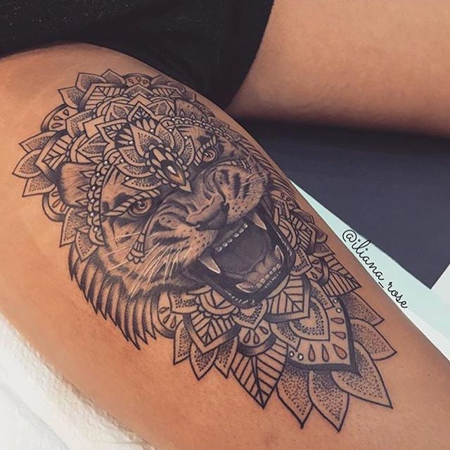 Tiger Face Tattoo In Anger With Black Ink