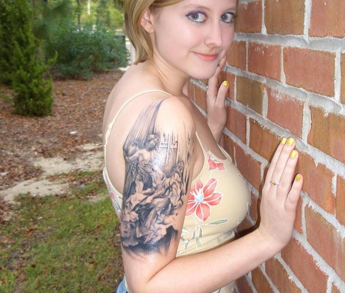 Perfect Half Sleeve Feminine Tattoo Design For Girls