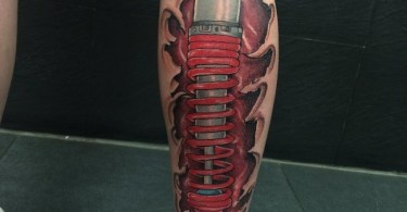 Lovely Calf Tattoo On leg 3d tattoo