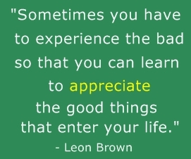 Appreciation Quotes sometimes you have to experience the