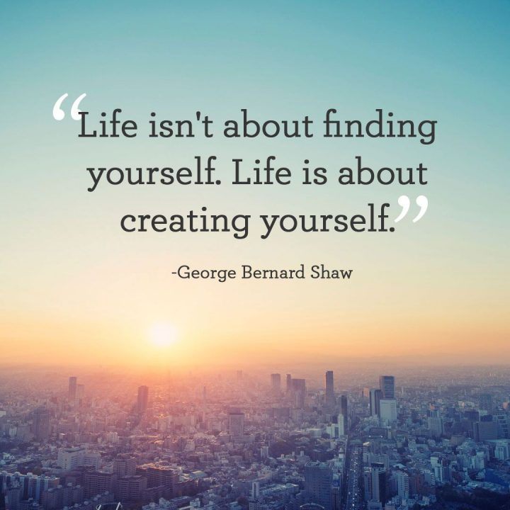 Short Quotes life isn't about finding yourself. life is about creating yourself.