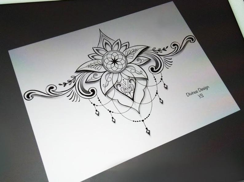Under boob Tattoo Designs For Women And Girls 0005