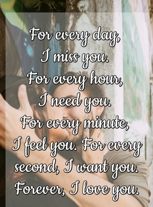 Love Quotes For Him for every day i miss you for every hour