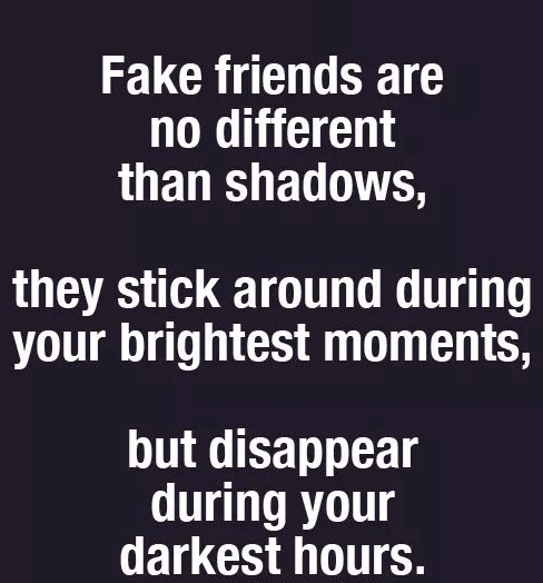Fake friends are ni different than shadows Fake People Quotes
