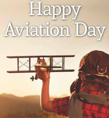 Happy Aviation Day Aeroplane With Little Kid