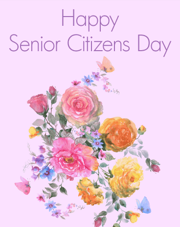 Happy Senior Citizens Day With Flower Wishes