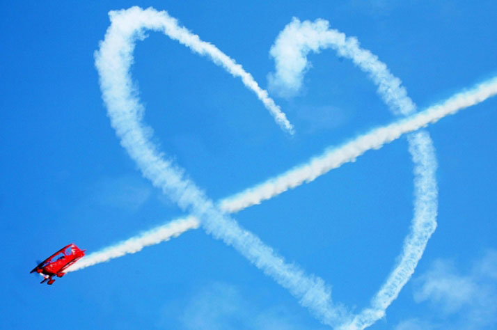 National Aviation Day With Heart On Sky