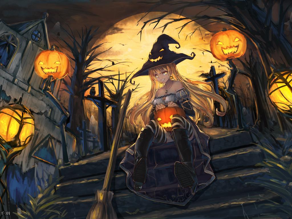 Desktop Wallpaper Witch Art Anime Girl Halloween Hd