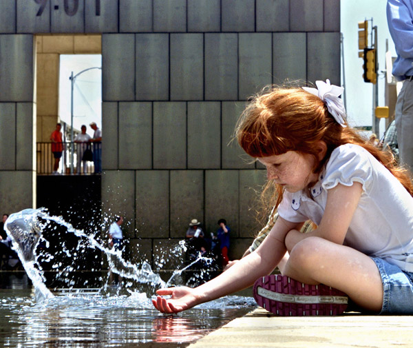 Rebecca Denny, age 11 years, is seen at the Oklahoma City National Memorial, moments before the execution, in Indiana, of Timothy McVeigh.