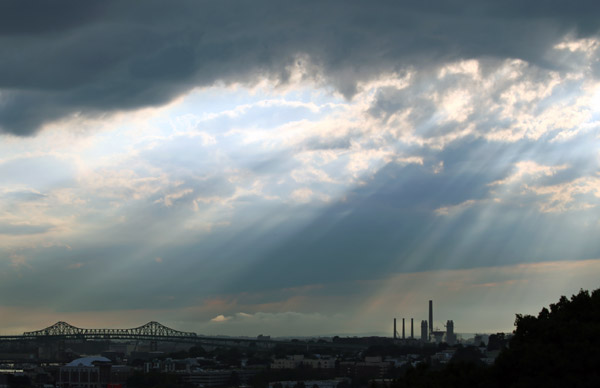 The Tuesday afternoon storm clears over the Tobin Bridge.