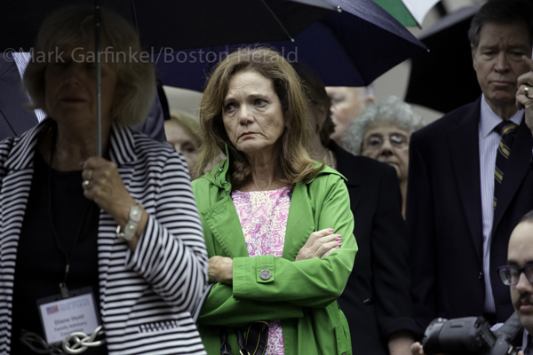 09/11/2015-Boston,MA. Christie Coombs, the wife of Jeffrey Coombs, who died in the September 11 terror attacks, is seen at Friday morning's ceremony at the Massachusetts 911 memorial. Staff Photo by Mark Garfinkel