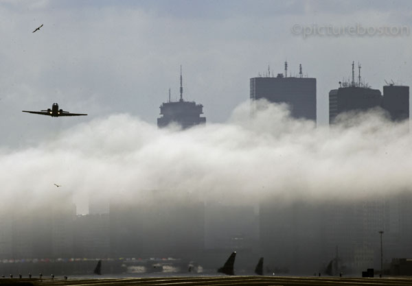August 20, 2015. Heavy fog over Boston's Logan airport.
