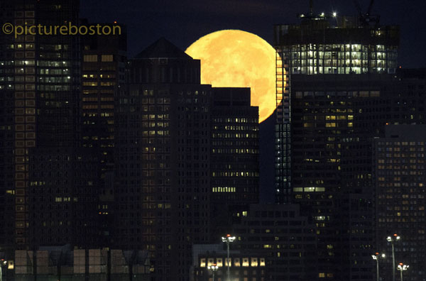 August 29, 2015. Boston's setting moon, at 5:36am.