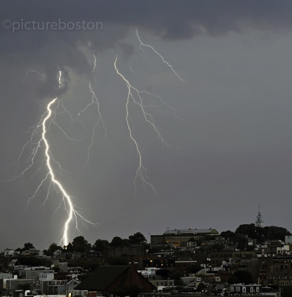 August 15, 2015. Lightning strikes to the rear of South Boston high school.